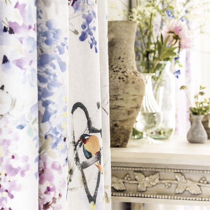 Big product 2 wisteria falls waterperry fabric curtain detail violet fabric vases