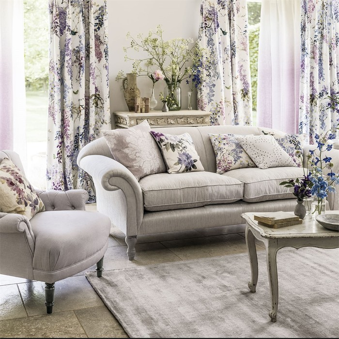 Big product 1 wisteria falls waterperry fabric curtains sofa violets branches birds
